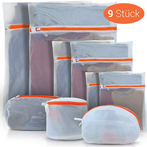 Lacari ® 9er Set Wäschenetz für die Waschmaschine und den Trockner sowie zur Aufbewahrung von Wäsche - Wäschesack mit Netzstoff aus Baumwolle