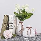 TERESA'S COLLECTIONS Vases Artisanaux en Céramique Blancs pour des Fleurs,Porcelaine Faite Main avec la Conception Unique de Corde pour la Décoration Intérieure(H12/11cm,Paquet de 2)...