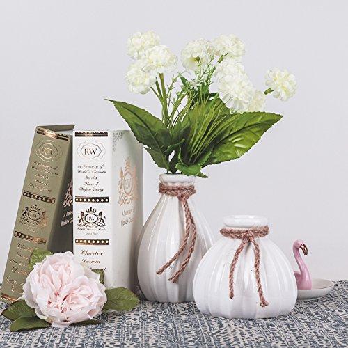 Weiß Vase Keramik Kleine Blumenvase Moderne Tischvase Blumen Pflanzen Einfache Vase Keramikvase Deko Garten Haus Dekoration Höhe 21,cm Ø 7cm(Weiß & Grau) (2 Set) ()