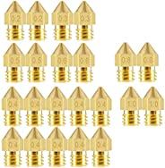 ELEPHANTBOAT® 22Pieces 3D Printer Extruder Nozzle MK8 for Makerbot Creality CR-10 7 Different Size 0.2 mm, 0.3