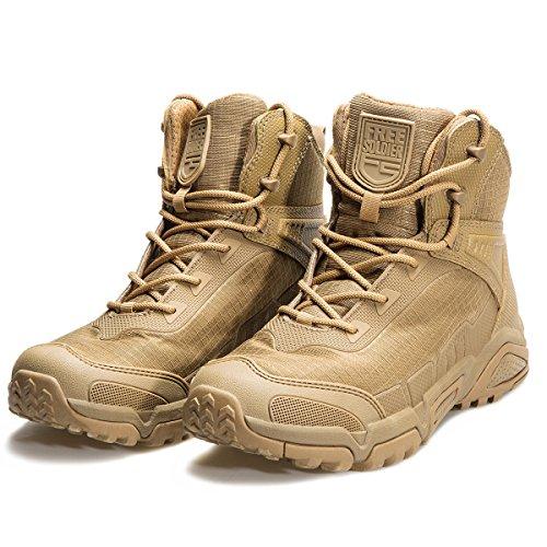 2a3529df0ddad FREE SOLDIER pour Homme Mid Haute durabilité lacé Bottes Durable armée  Combat Chaussures Respirant Tactique de randonnée, Marron, 40 EU