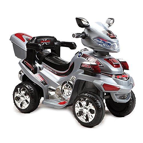Kinder Elektromotorrad 6V B021 bis 3 km/h mit Musik, Licht und Gepäckträger (Grau)