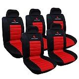 Woltu AS7257-5 5er fundas de asiento para coche universal único asiento cubierta asiento delantero cubre asiento salvavidas, juego completo, rojo
