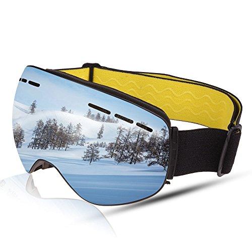 Ski Goggles, Anti-Beschlag Ski Snowboard Schutzbrillen OTG UV400 Skifahren Snowboarden Snowmobile Brille für Damen und Herren (Silver)