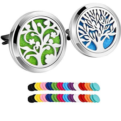 Xinfang 2pezzi in acciaio INOX 316L auto diffusore di oli essenziali per aromaterapia deodorante Vent clip medaglione con 48pezzi di ricambio feltro Pad (albero e cloud Tree)