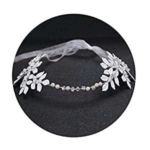 AmDxD Versilbert Haarschmuck Hochzeit Mädchen Perlen Zirkonia Weiß Blatt Haarbänder Silber