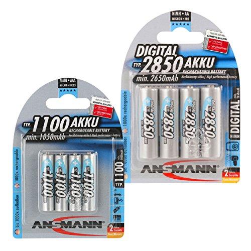 ANSMANN wiederaufladbar Akku Batterie Kombi-Paket Mignon 4x AA 2850mAh NiMH + 4x AAA 1100mAh NiMH hochkapazitiv Hohe Kapazität Akku ohne Memory-Effekt