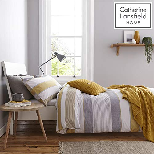 Catherine Lansfield Newquay Stripe Easy Care Single Duvet Set Ochre Best Price and Cheapest