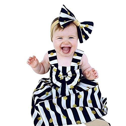Oyedens Kleider Babys Mädchen, Prinzessin Kleid Mädchen Kleid Streifen Punkt Bogen Kopfbedeckung Sommerkleider Mädchen 164