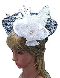Dayiss® Damen Mädchen Feder Blume Kopfbedeckung Kopfschmuck Haarschmuck Fascinator Minihut Vintage Kostüm Haar Modeschmuck