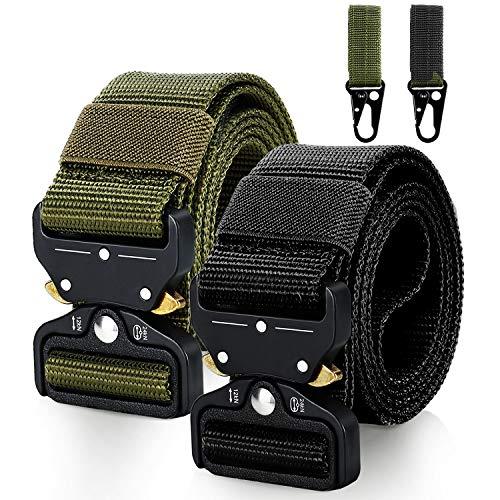 Gifort Cinturón de nylon, cinturón unisex de 2 piezas, con hebilla metálica de liberación rápida para trabajo pesado, soporte para 2 llaveros gratis, para exteriores/caza/deporte/camping