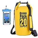 DINOKA Borsa impermeabile, Sacca impermeabile da 20L, Kit impermeabile con Zaino Dry Bag, Waterproof Phone Case perfetto per kayak, barca, canottaggio, pesca, rafting, nuoto, camping, snowboarding