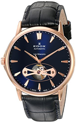 Edox Les Bémonts orologio uomo Open Heart 85021 37R BUIR