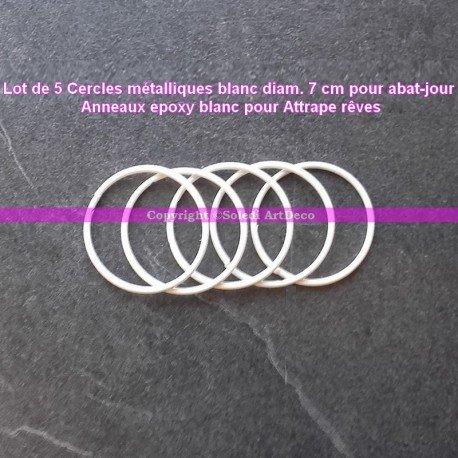 Lot de 5 Cercles métalliques blanc diam. 7 cm pour abat-jour, Anneau epoxy Attrape rêves
