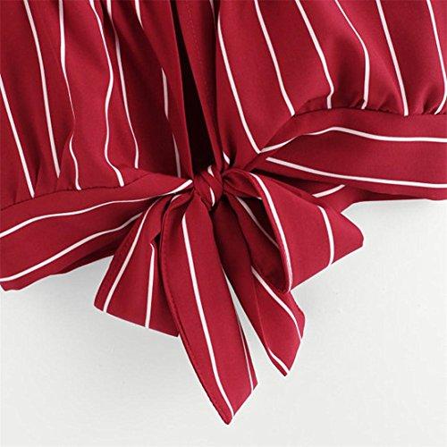 Camicia Donna Elegante,Kword Maglia Donna Scollo Av Senza Maniche, Camisole Canotte E Top,Bluse E Camicie,Estate Camicia Camicetta, T-Shirt in Cotone,Magliette (Rosso, S)