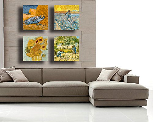 Quadri Moderni Van Gogh 4 Pezzi Girasoli Notte Stellata Stampa Tela