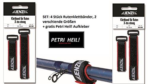 SET: 4 Stück Jenzi Rutenklettband X-tra strong + gratis Petri Heil! Aufkleber