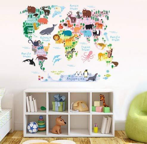 SKANGTiere Karte von Welt wandaufkleber kinderzimmer Kindergarten klassenzimmer Dekorationen Hause PVC Decor DIY Wand Safari wandbild Kunst Aufkleber