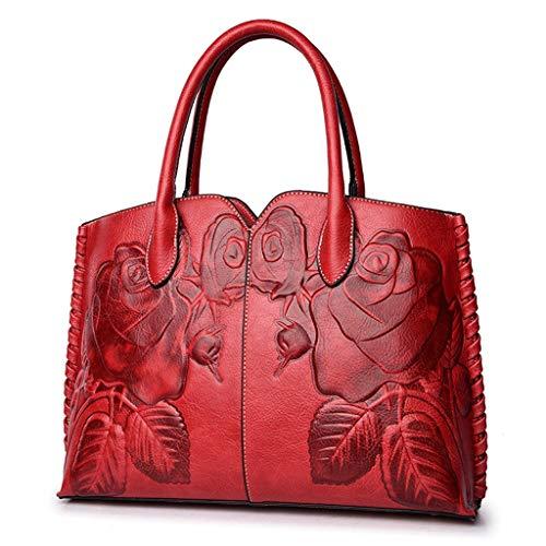 Rex rabbit-SS Mode Ethnic Style Handtasche Peony Blume Handtasche Sommer-Lederhilfe Chinese Style Damen Handtaschen Schulter Tasche Messenger Tasche,A