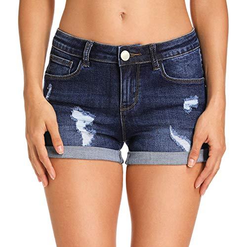 Hocaies Damen Jeansshorts Basic in Aged-Waschung Jeans Bermuda-Shorts Kurze Hosen aus Denim für den Damen Sommer High Waist Denim Kurze Hose mit Quaste Ripped Loch Hotpants Shorts (42, 03 Dunkel Blau)