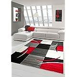 Sala de estar diseñador Alfombra Alfombra contemporánea, alfombras de pelo bajo con el patrón de contorno de corte de diamante rojo del blanco gris Negro Größe 200 x 290 cm