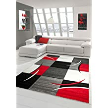 Fesselnd Designer Teppich Moderner Teppich Wohnzimmer Teppich Kurzflor Teppich Mit  Konturenschnitt Karo Muster Rot Grau Weiß Schwarz
