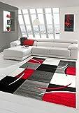 Traum Living Designer Stanza Tappeto Tappeto Moderno, Moquette Mucchio Basso con Motivo a Diamante Taglio Contorno Rosso Grigio Bianco Nero Größe 160x230 cm