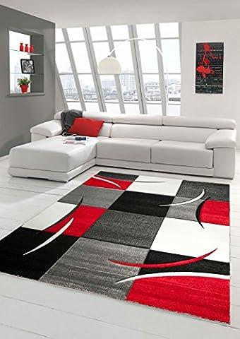 Designer Teppich Moderner Teppich Wohnzimmer Teppich Kurzflor Teppich mit Konturenschnitt Karo Muster Rot Grau Weiß Schwarz Größe 60x110 cm