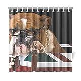 JSXMNA Home Decor Bad Vorhang Englische Bulldogge In Einer Britischen Flagge Kiste Polyester Stoff Wasserdicht Duschvorhang Für Badezimmer, 72 X 72 Zoll Duschvorhänge Haken Enthalten