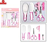 #6: Flick In Baby Grooming Kit Infant Nursery Set Manicure Set Newborn Healthcare Kits Child Care Baby Nail Clipper with Cover, Scissor with Cover, Brush Comb Cleaning Sets (6 Pieces, Pink)