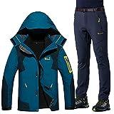 Herren Damen Skianzüge Winter Kälteschutz Warmhalten Bergsteigeranzug Furnier Double Board Ski Jacket Hose, Herren Jeans blau + grau, XXL
