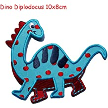 Dinosauro Diplodocus 10x8cm è un toppa termoadhesiva ricamati patch TrickyBoo - Luigi XIV lettere Personalizzare (Personalizzata Cucchiaio Da Bambino)