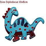 2 Aufbügler Set Dino Stegasaurus 12x7 und Dino Diplodoc TrickyBoo Schweiz macht Aufnäher Applikation Applique Bügelbilde