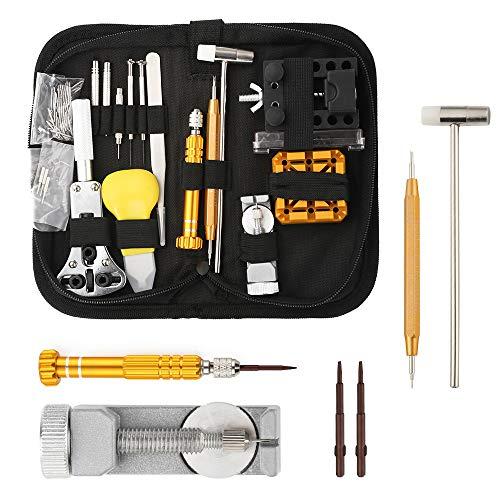 WKENSKY Uhrmacherwerkzeug Set, Uhrmacher Uhr Reparatur Set Uhrenmacherwerkzeug Watch Tools 148-teiliges Uhr Werkzeug Tasche in Schwarze Nylontasche