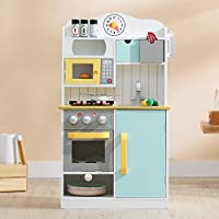 Teamson Kids TD-11708AR Florence Wooden Pretend Play Toy Kitchen for Kids with Role Play Phone & Accessories, Blue/Yellow/White
