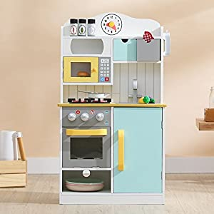 Teamson Kids TD-11708AR Florence-Cocina de Juegos de Madera, Color Blanco, Verde y Amarillo, White/Green & Yellow