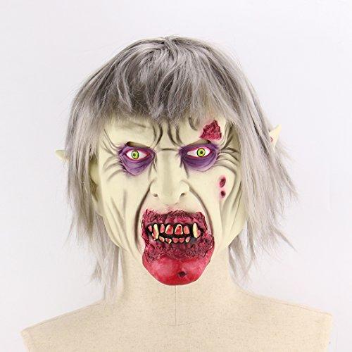 Halloween Latex Maske Beängstigend Silberne Haare Verfaulten Mund Zombie 3D Neuheit Gruselig Teufel Kostüm Partei Cosplay Requisiten Rollenspiel Spielzeug