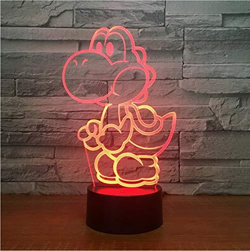 3D Nachtlicht,Fernbedienung Yoshi 3D Led Usb Lampe Cartoon Spiel Figur Super Mario Acryl Neuheit Weihnachten Beleuchtung Geschenk Rgb Touch Spielzeug