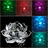 Ruff 2017 New Imported Fengshui Decorative Crystal Lotus Flower Showpiece With Automatic Color Changing Candle With LED Best For Navratri & Depavali