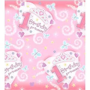 "Nappe de table 1er anniversaire fille Princess Tiara rose ""1st Birthday"""