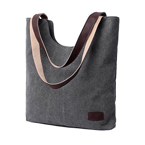Bravoe Damen Vintage Canvas Umhängetaschen Freizeit Handtasche Groß Schultertasche Grau