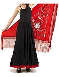 ANUKA Conjunto de niña para Danza Flamenco o sevillanas. Maillot, Falda y mantón.