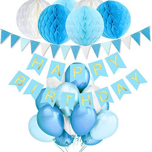 (TopDeko Geburtstagsdeko Jungen, Geburtstag Dekoration Blau mit 6pcs Wabenbälle, 30pcs Große Geperlte Ballons, 1 Set Happy Birthday Banner, 1 Set Wimpel Banner (Blau))