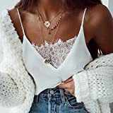 Women Girls Shirt LSAltd Lace Splice Strappy Vest Tops Solid Sleeveless Camisole For Young Women (M, White)