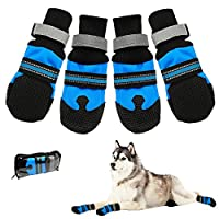 Doggie Style Store Black Blue Large Dog Pet Paw Protectors (Pack of 4) Non Slip Skid Grip Reflective Protective Boots Shoes