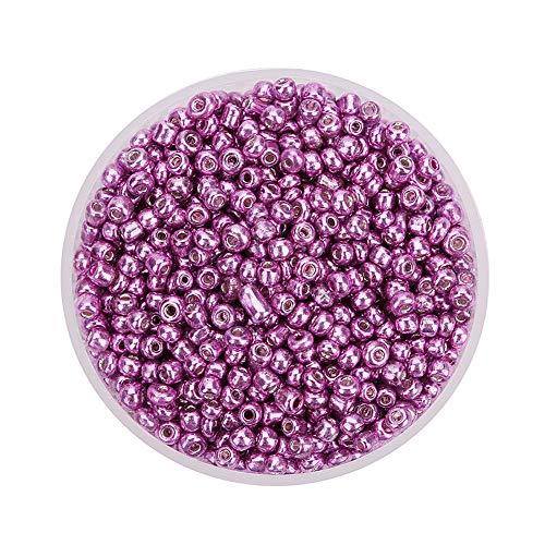 MoGist 2000pcs 2mm Mini Mode Glänzend Glasperlen Perlen für Schmuckherstellung Jewellery Making Kinder DIY Armband Art Perlen Zum Auffädeln Kreuzstich Bekleidungszubehör (Lila)
