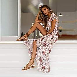 Abito da Donna Sexy con Scollo a V Stile Boho Floreale, con Stampa Floreale, Stile Vintage Etnico Abito da Spiaggia