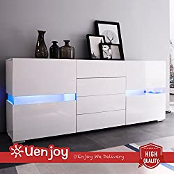 SUNCOO White High Gloss Sideboard Cabinet Cupboard - Chest of Drawers Flow with LED for Living Room Dining Room - Body Matte White/Front Gloss White