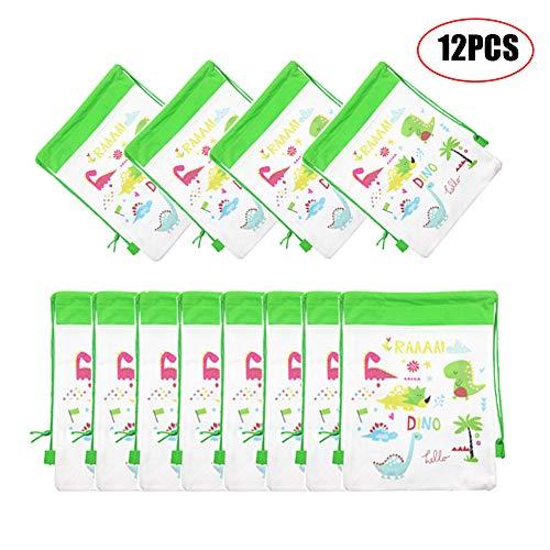 ANBET 12er Pack Dinosaurier Vlies Geschenktüten, Dinosaurier Kordelzug Rucksäcke Kinder Goodie Bags für Boy Party Supplies - 10.6 × 13.4in