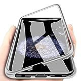 WindCase Galaxy S9 Plus Funda, Anti-rasguño Metal Aluminio Bumper con Magnética + Transparente Vidrio Templado Rígida Cubierta Protectora Carcasa para Samsung Galaxy S9 Plus Plata